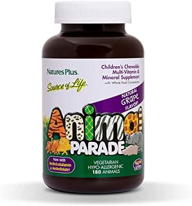 NaturesPlus Animal Parade Source of Life Children's Chewable Multivitamin - Grape Flavor - 180 Animal Shaped Tablets - Promotes Health and Wellbeing - Vegetarian, Gluten-Free - 90 Servings