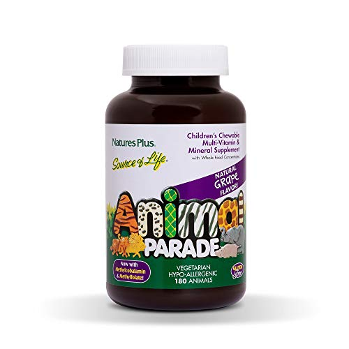 Natures Plus Animal Parade Source of Life Childrens Chewable Multivitamin Grape Flavor - 180 Animal Shaped Tablets Promotes Health and Wellbeing - Vegetarian, Gluten Free - 45 Servings