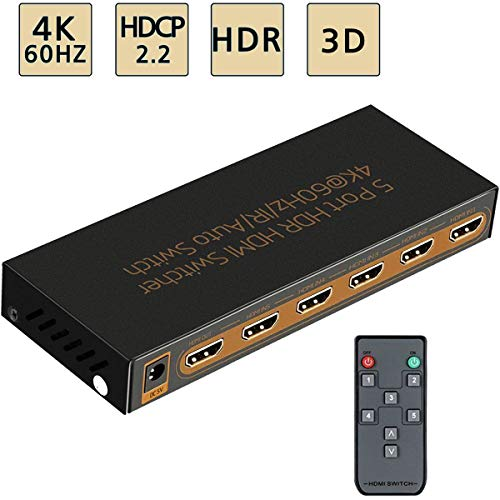 4K@60Hz HDMI Switch 5x1 Awakelion Premium 5 in 1 Out HDMI 2.0 Switcher with IR Remote Support HDCP 2.2,UHD,HDR,Full HD,3D,1080P Audio Line Splitter 8 Port