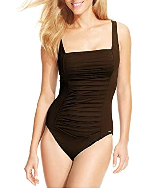 Calvin Klein Ruched-Panel One-Piece Swimsuit