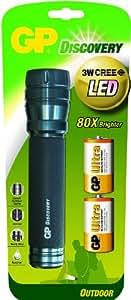 GP - Linterna LED de bolsillo (2 pilas 13AU LR20 y lámpara LED de 3W de Cree incluidas)