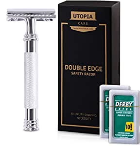 Double Edge Safety Razor with 20 Derby Blades - Long Handled Chrome Finish 4 inch - Rust Free and Unbreakable - By Utopia Care
