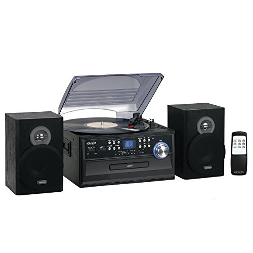 Retro Forward Controls - Jensen Retro 3-Speed Turntable Music Entertainment System Limited Edition JTA475G LCD Display with Front Loading CD Player , AM/FM Radio, Cassette Player ,Aux input, Headphone Jack (Charcoal Grey)