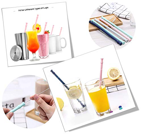 """Reusable Silicone Collapsible Straws - Extra Long 10"""" Portable Straws 4 Pack for 30&20 oz Tumbler, with 4 Cleaning Brushes + 4 Carrying Case + 2 stainless steel straw + eBook - Perfect for Travel"""