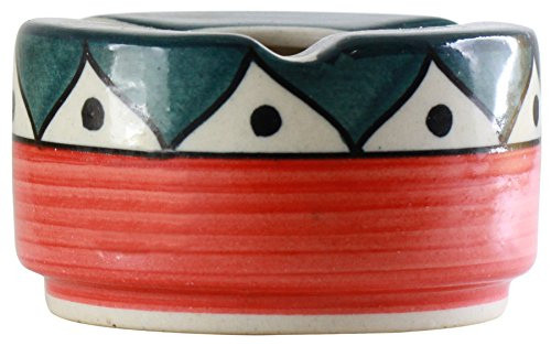 SouvNear Ashtray with 3 Cigarette Holder Slots Colorful Ceramic Ash Tray Office Bar Indoor Outdoor - Deals of the Day by SouvNear (Image #1)