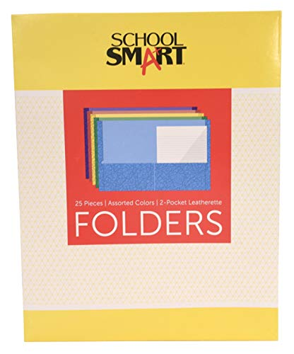 (School Smart Extra Large 2-Pocket Folders, 9 x 12 Inches, Assorted Colors, Pack of)