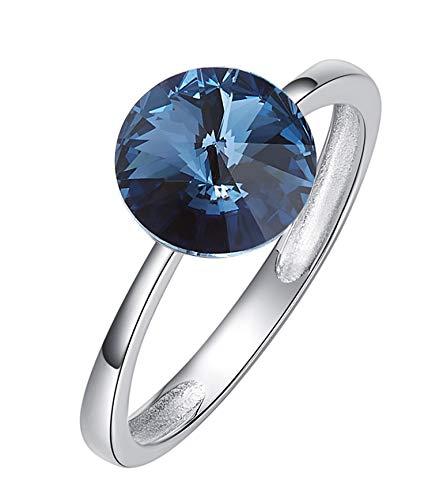 Epinki S925 Women Ring Round Trust Ring Solitaire Ring Dark Blue with Dark Blue Cubic Zirconia Size 7