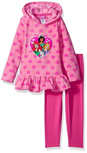 Disney Toddler Girls' 2 Piece Princess Fleece Hoodie With Applique and Pant, Pink, 4T (Hoodie Princess Fleece)