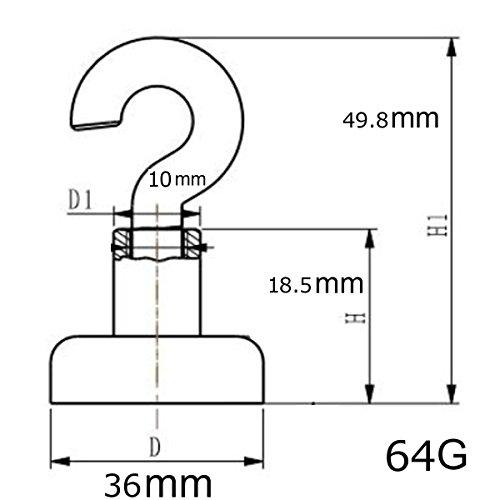 Magnetic Hooks 8 Hook Set?TEERFU Super Powerful 90 LB Heavy Duty Magnetic Hooks, Strong Powerful Neodymium Indoor/Outdoor Magnet Hooks,Utility Multiuse for for Storage and Organization Hanging Hooks by TEERFU (Image #1)