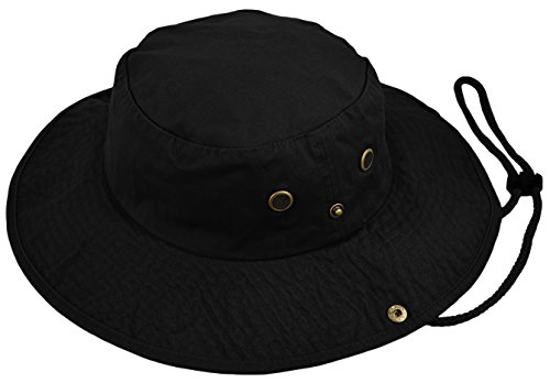 Deewang Summer Bucket Cap, Sun Hat With Adjustable CHINSTRAP, Outdoor Hunting Fishing Safari boonie Hat (Black, Large/X-Large)