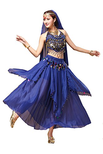 YYCRAFT Women Halloween Halter Top Skirt Costume Set Dance Outfit Royal - Dancing Dance Skirt Veil Belly