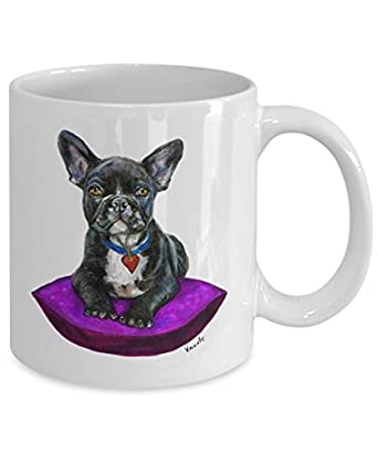 Black French Bulldog on Cushion Mug - Style No.9 - PURPLE - Cute Ceramic Frenchie Coffee Cup (11oz)