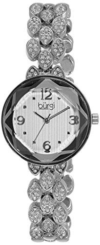 Diamond Self Winding Bracelet (Burgi Women's BUR124SS Swarovski Crystal Accented Faceted Silver Bracelet Watch)