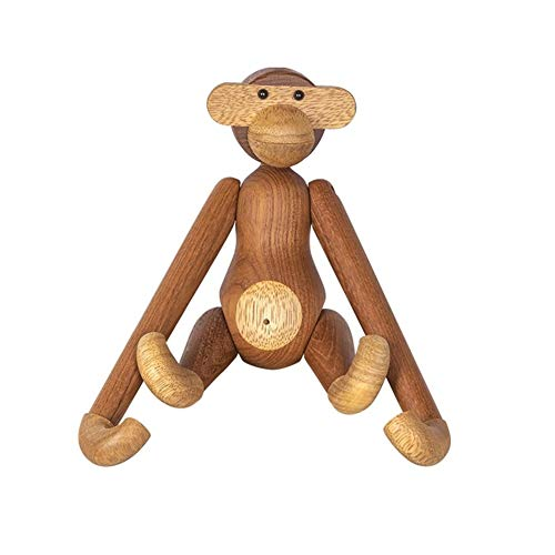 AoSaiDe Creative Wood Monkey Doll Cute Inn Office Home Hanging Decorations for Wall Cafe Bar Women Men Desk Statue ()