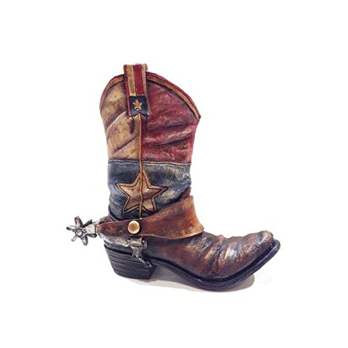 Texas Lone Star Cowboy Boot with Spur Vase Planter for Western Decor]()