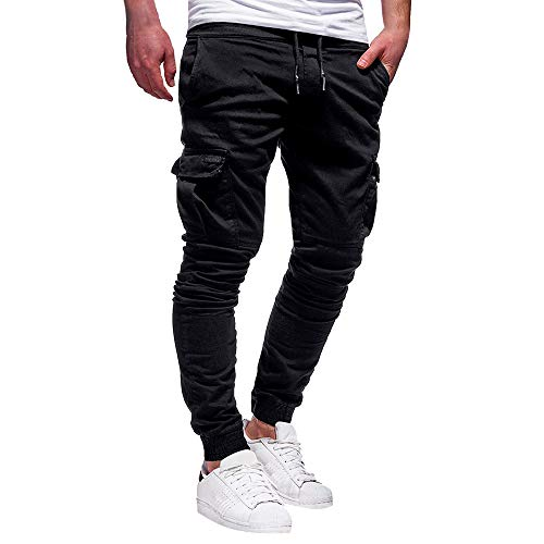 Seaintheson Men's Casual Pants,Summer Solid Color Sport Bandage Comfortable Loose Sweatpants Drawstring Running Pants Black