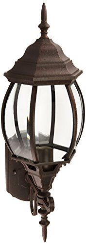 Curved Glass Lantern (Westinghouse Lighting 6468300 One-Light Exterior Wall Lantern, Textured Rust Patina Finish on Cast Aluminum with Clear Curved Beveled Glass Panels)