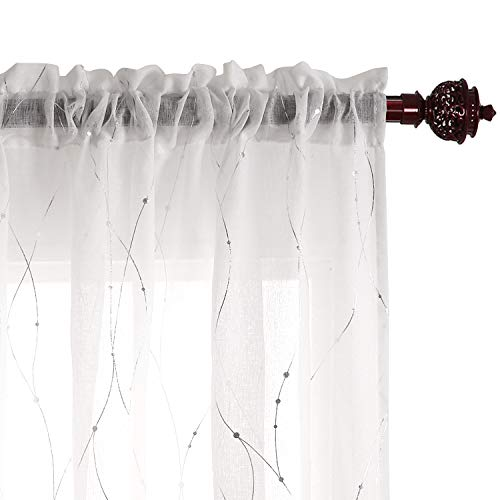 - Deconovo Rod Pocket White Sheer Curtains 63 Dots Printed Curtains Linen Look Volie Sheer Window Curtain for Bedroom 52W x 63L Silver 2 Panels