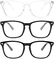 Gaoye Paquete de 3 gafas de bloqueo de luz azul, a la moda, cuadradas, falsas gafas antirayos UV para videojue