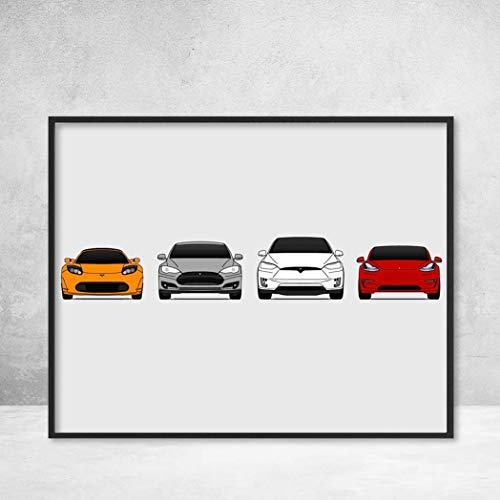 Tesla Pre-FaceLift Car Poster Print Wall Art of the History and Evolution of Tesla Motors Generations (Car Models: Roadster, Model S, Model X, Model 3)