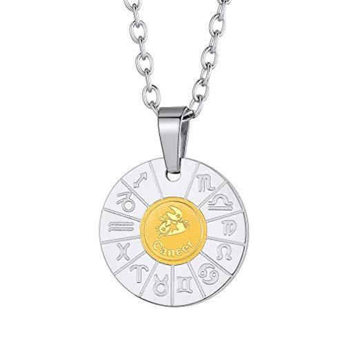 FaithHeart Customizable Astrology 12 Constellation Horoscope Cancer Necklace, Stainless Steel Compass Zodiac Star Sign Medal Pendant Necklace Birthday Gifts Lucky Charms Layered Necklace (Silver) (Best Dog For Zodiac Sign)