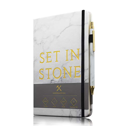 Marble Executive Pen - Luckies of London Ltd Set In Stone Notebook And Pen Set - Executive Hardcover Marble-Print A5 Notebook With Marble-Print Ballpoint Pen