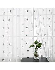 Deconovo Visillo Bordado para Ventana con Ollaos 2 Piezas 140 x 180 cm Gris Estrella