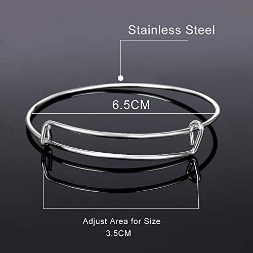 ONESING 480Pcs Expandable Bangle Bracelets Jewelry Making Charms for Bangle Bracelets Adjustable Wire Blank Bracelets with Enamel Charms for DIY Craft Bracelets 6 Colors