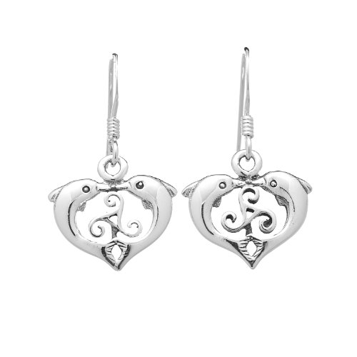925 Oxidized Sterling Silver Kissing Dolphins Heart Dangle Earrings 12 mm