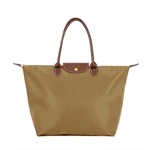 [BEKILOLE Women's Stylish Waterproof Tote Bag Nylon Travel Shoulder Beach Bags-Coffee Color - Medium Size] (Medium Bag Dark Coffee)