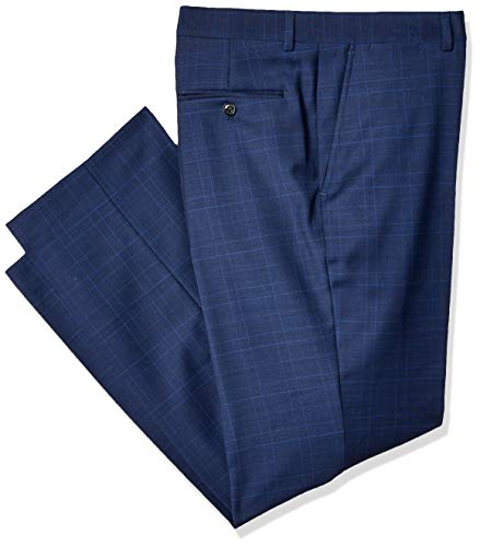 Tommy Hilfiger Men's Modern Fit Suit Separate with Stretch (Blazer & Pant), Deep Blue Plaid, 3832