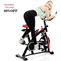UAMSISTE Adjustable Indoor Exercise Bike with Heart Rate Sensors, LCD Display