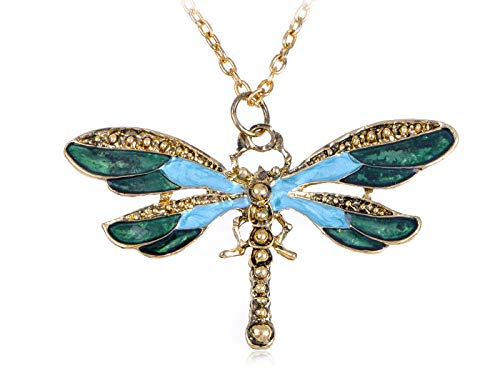 (Painted Wing Dragonfly Antique Blue Green Brass Tone Pendant Necklace)