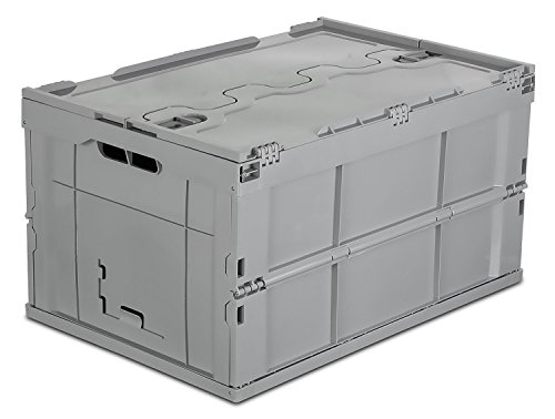 Mount-It! Folding Plastic Storage Crate, Collapsible Utility Distribution Container with Attached Lid, 65L Liter Capacity (MI-908) (Folding Plastic Crates)