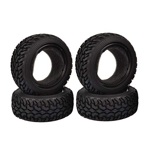 (Boliduo 4PCS 1:10 Rally Car 75mm Tires Grain Rubber Tyre for 1/10 Tamiya HSP HPI Kyosho Traxxas 4WD RC On Road Car(Black))