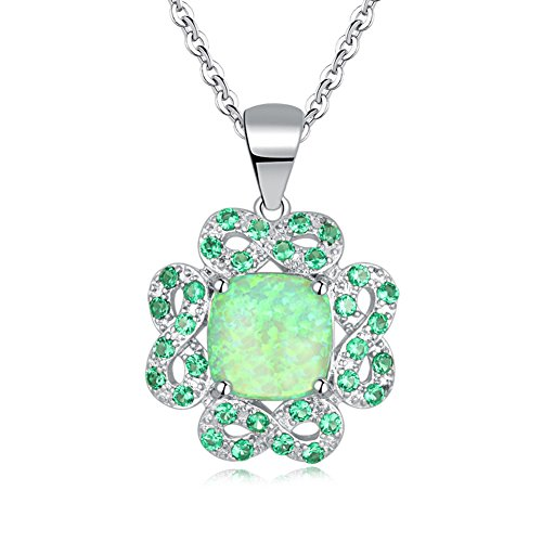 Green Opal Pendant - CiNily Created Green Fire Opal Emerald Rhodium Plated for Women Jewelry Gemstone Pendant 1 1/8