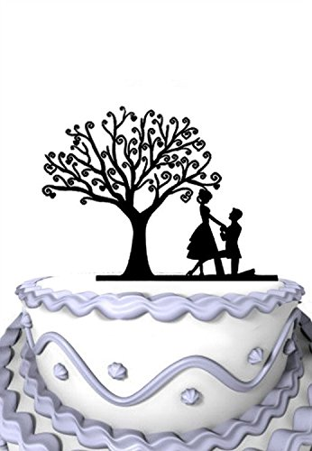 Meijiafei Wedding Cake Topper - Will You Marry Me Cake Topper Under the Tree for Rustic Wedding - Party - Under Website Me