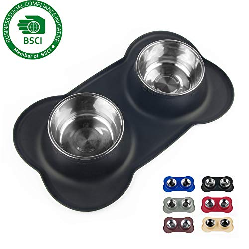 Sequoialake Dog Bowls with Anti-Overflow and Anti-Skid Silicone Dog Food Mat, Stainless Steel Antibacterial Feeder Easy to Clean for Small Medium Large Dogs Cats Pets ()