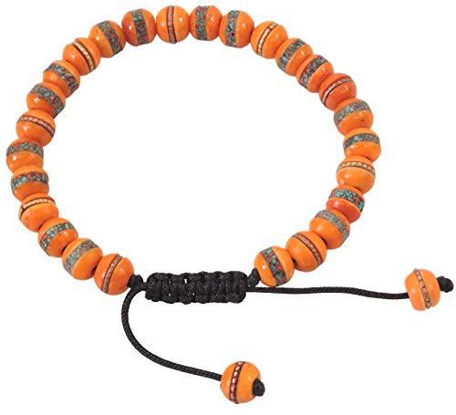 Tibetan Mala Embedded Medicine Wrist Mala for Meditation Handmade Draw String Silk Pouch (Orange medicine bracelet)