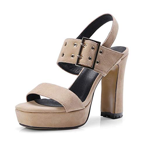 (NNHLPO& Fashion Women Genuine Leather Platform High Heel Sandals Metal Hole Spike Heel Sandals Women Summer Shoes Size 34-40 Ivory)