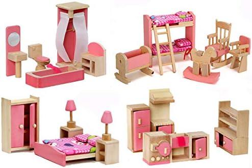 Giraffe 14 Set Pink Wooden Dollhouse Furniture, Miniature Bathroom