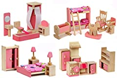 Giraffe 4 set wooden dollhouse furniture, this toy set all are WOOD not PLASTIC , Our products are top quality and are backed up with our no question asked 30 days Return policy.Please Note: Suitable for children of 3 years and above, choking...