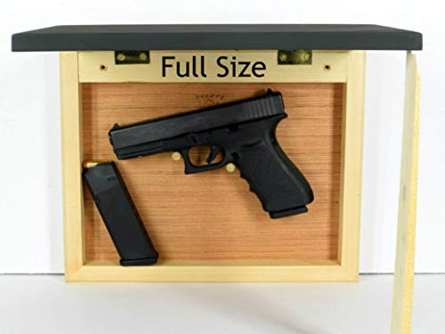 Hidden gun storage case, concealment furniture cabinet, wall pistol safe, photo sliding frame, secure firearm shelf, hardwood light back