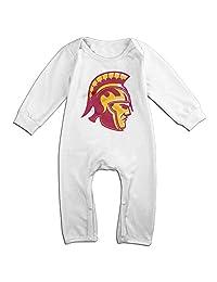 Kids USC Trojans Logo Baby Little Boys Girls Bodysuit Onesies 100% Cotton Long Pants