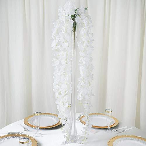 (Mikash 45 Tall Silk Wisteria Flowers Hanging Vine Bush Wedding Tabletop Decorations | Model WDDNGDCRTN - 14869 |)