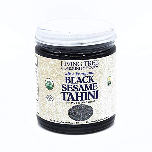 Organic Black Tahini Paste for Hummus - Black Sesame Paste, Organic Black Tahini Butter - Robust and Enlivening Taste Made From Unhulled Organic Black Sesame Seeds - We Support Family Farms - 8 Ounce