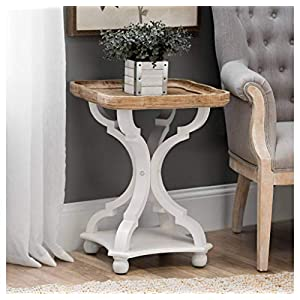COZAYH Rustic Farmhouse Cottagecore Accent End Table, Natural Tray Top Side Table Nightstand for Family, Dinning or…