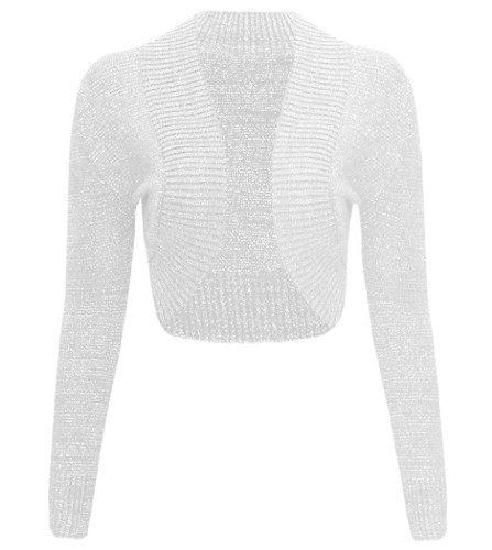 Boléro en Lurex métallique à longues manches pour femmes -  Blanc - Large