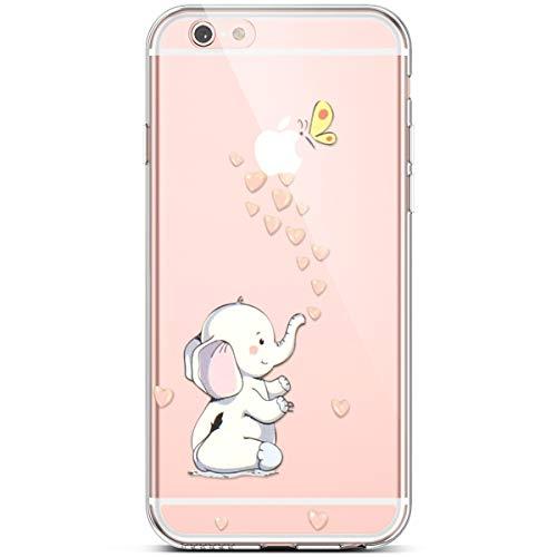 PHEZEN Compatible iPhone 6S Plus Case,iPhone 6 Plus Case,Slim Shockproof Cute Amusing Whimsical Design Crystal Clear Soft Silicone TPU Cover Bumper Phone Case for iPhone 6 Plus/6S Plus,Heart Elephant