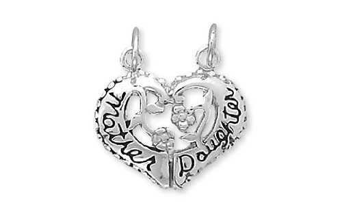 Sterling Silver Charm Pendant Heart Mother Daughter Break-away